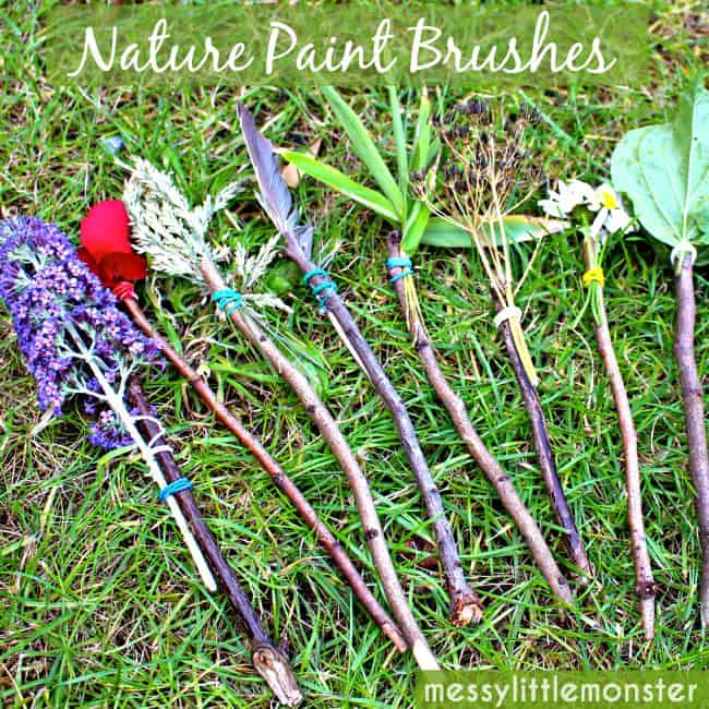 Summer art activity nature paint brushes parkland for Painting with nature items