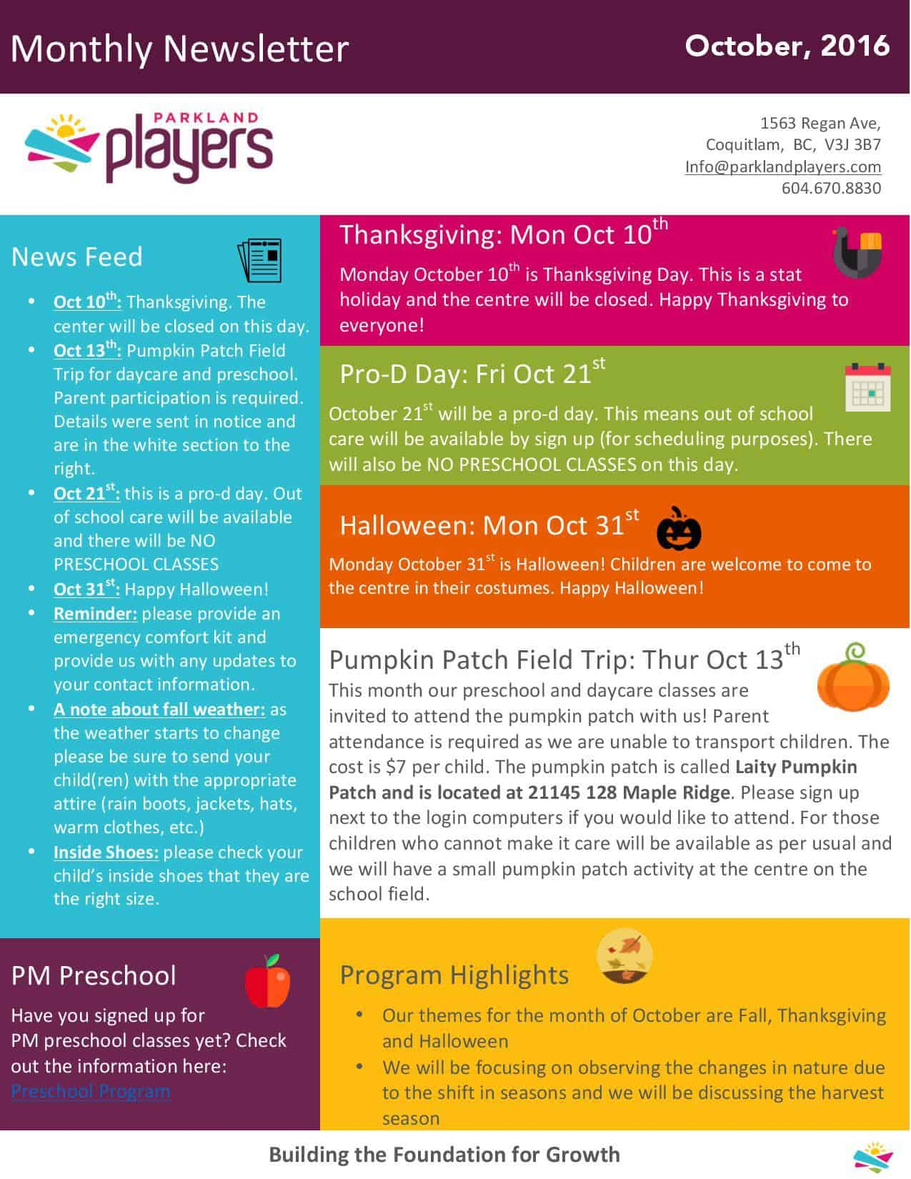 newsletter parkland players coquitlam child care newsletter