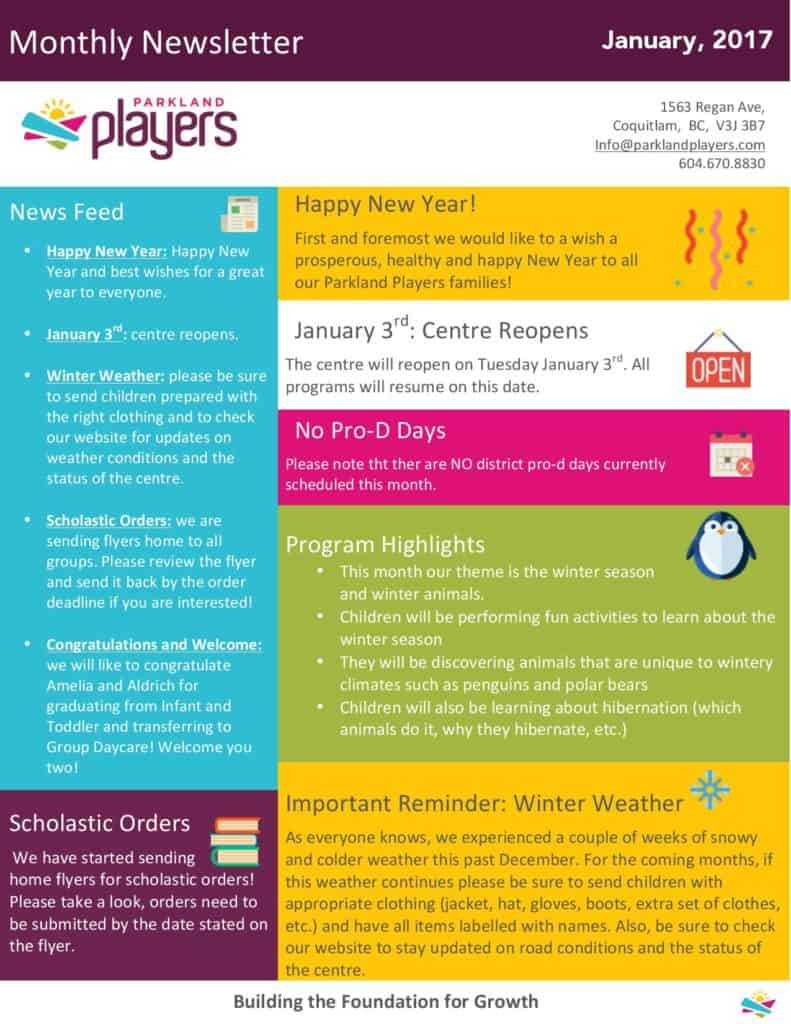 December 2016 parkland players coquitlam child care for Childcare newsletter templates