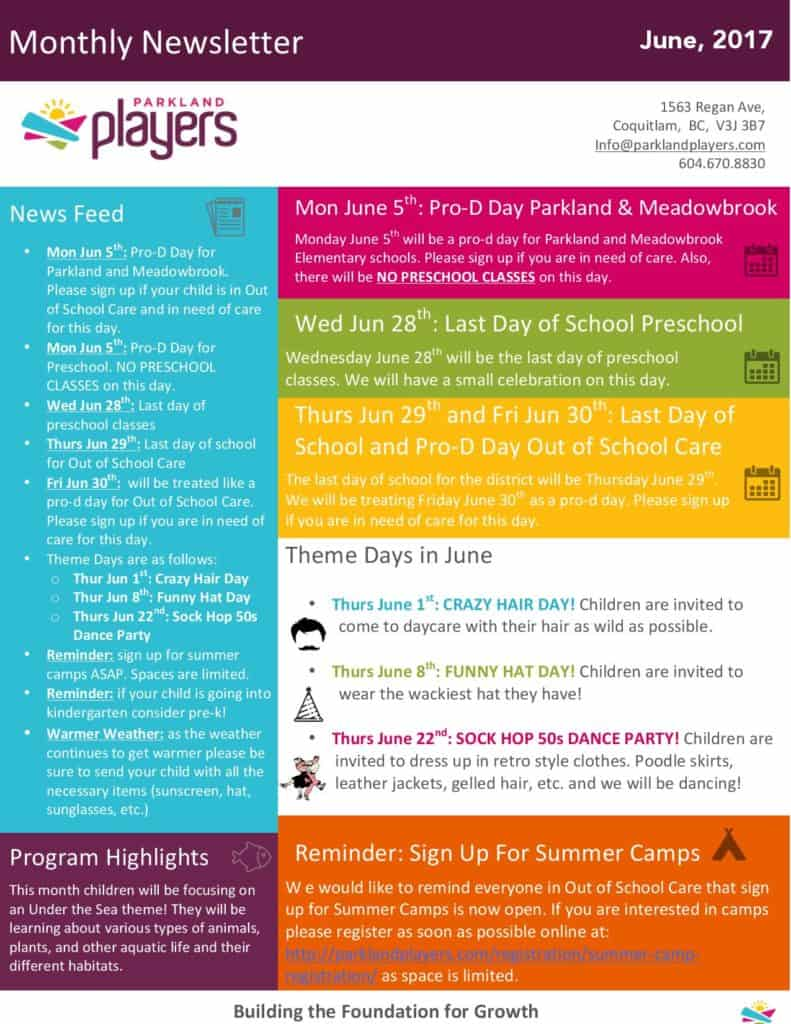 childcare newsletter templates - june newsletter parkland players coquitlam child care