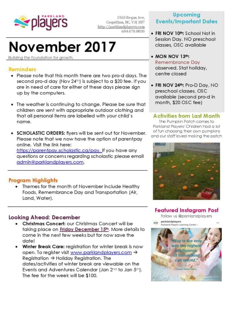 October 2017 parkland players coquitlam child care for Childcare newsletter templates