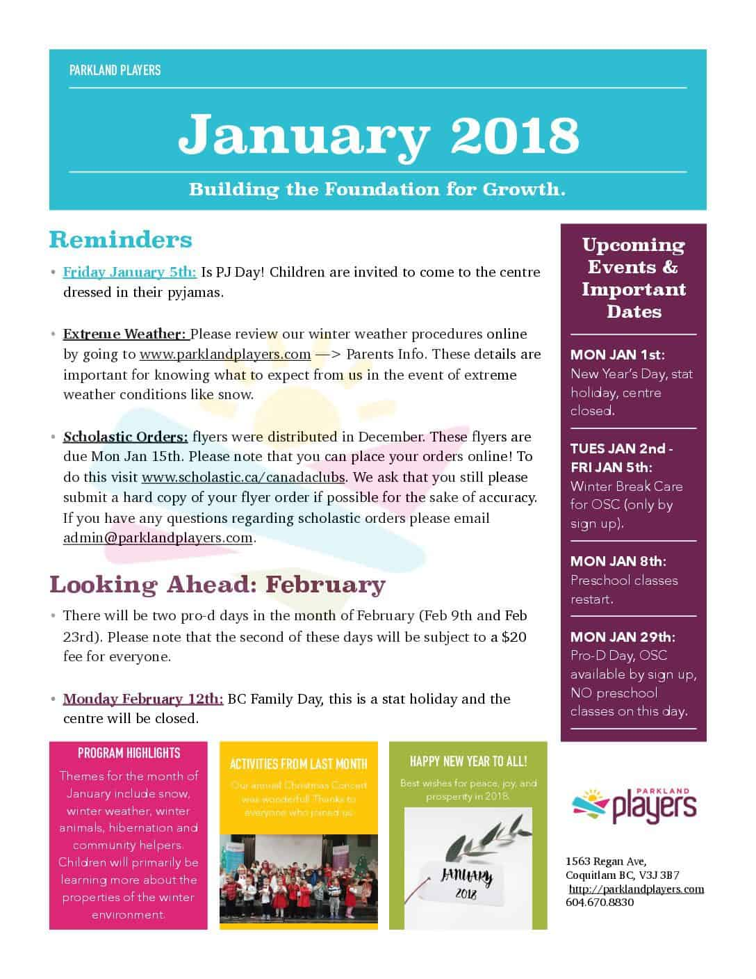 January newsletter parkland players coquitlam child for Childcare newsletter templates