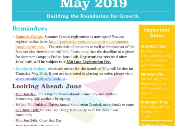 May 2019 Newsletter Parkland Players