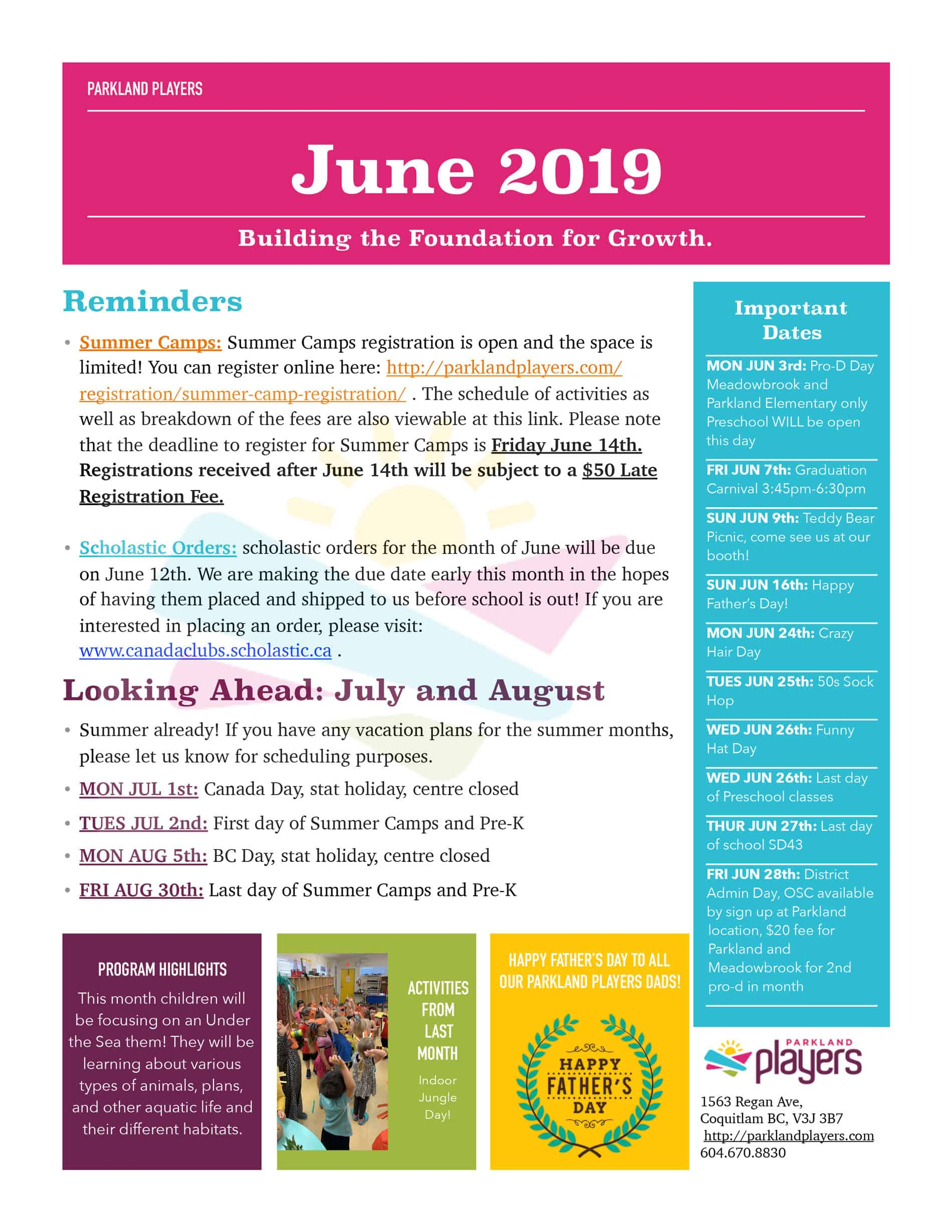 June 2019 Newsletter Preschool