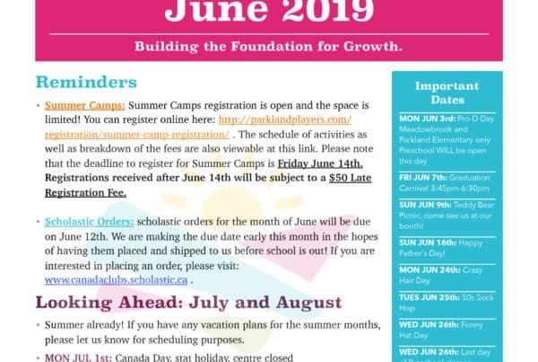June 2019 Newsletter Preschool