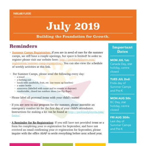 July 2019 Newsletter
